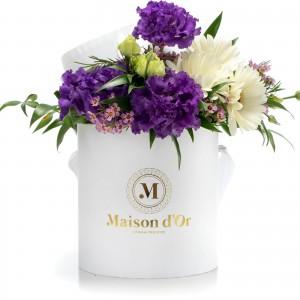 Box With Minigerbera And Lisianthus purple