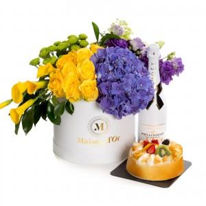 Floral arrangement of roses, path, hydrangeas-desire collection