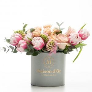 Cutie gri cu flori Fatima