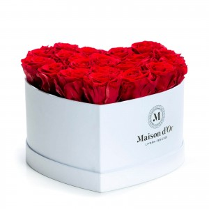 Heart box 21 red cryogenic roses