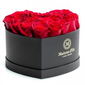 Cutie inima 23 trandafiri rosii