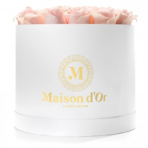 Cutie rotunda mare 25 trandafiri roz pal