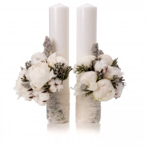 Short white peony wedding candles