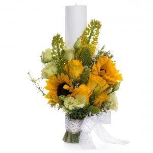 Yellow short wedding candle