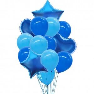 Set of blue helium balloons