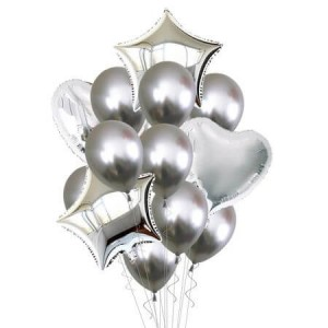 Set of silver helium balloons