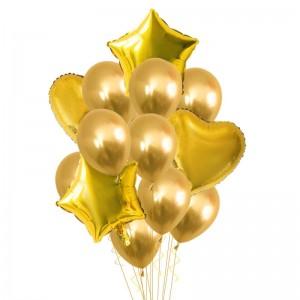 Set of gold helium balloons