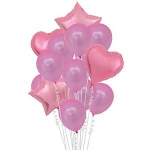 Set of pink helium balloons
