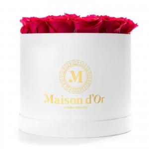 Cutie rotunda alba cu 23 trandafiri cycalm