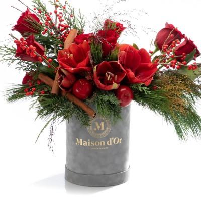 Cutie cu amaryllis, brad si trandafiri rosii - Colectia de Craciun