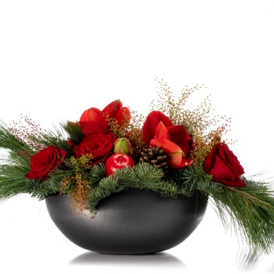 Aranjament floral cu amaryllis si trandafiri rosii - Colectia de Craciun