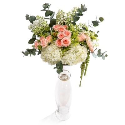 Aranjament floral de nunta din hortensii, minirosa