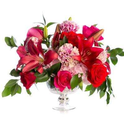 Aranjament floral de nunta din hortensie, trandafiri