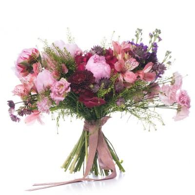 Buchet de mireasa bujori roz