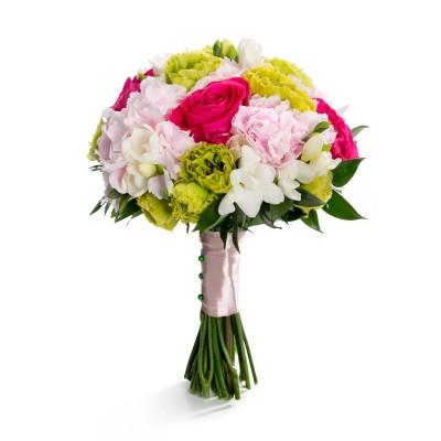 Buchet de mireasa trandafiri cyclam si lisianthus