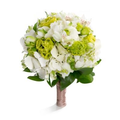 Buchet de mireasa hortensie alba si lisianthus verde