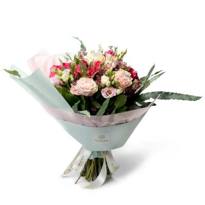 Buchet trandafiri si lisianthus roz