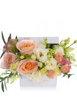 Box of roses and cream lisianthus