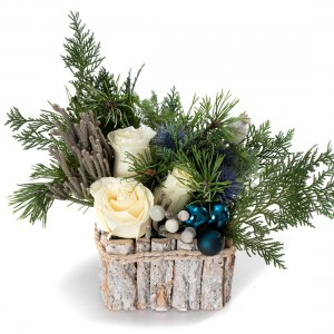"""White Christmas"" Christmas floral arrangement"
