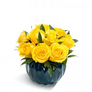 Business floral arrangement with yellow roses