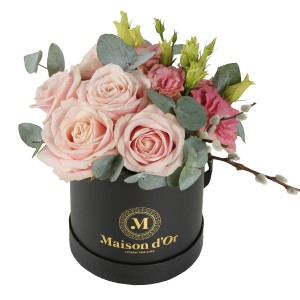 Box of pink roses and lisianthus