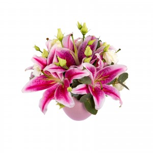 Aranjament floral crin roz si lisianthus