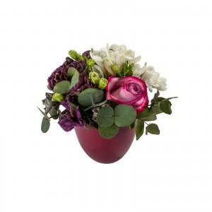 Aranjament floral lisianthus si frezii