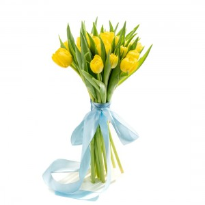 Bouquet with 15 yellow tulips