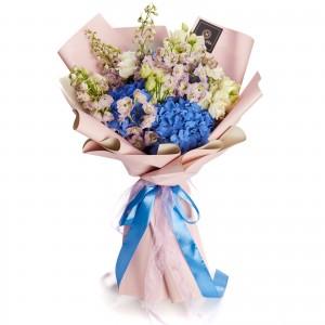 Bouquet With Hydrangeas, Delphinium And Lisianthus