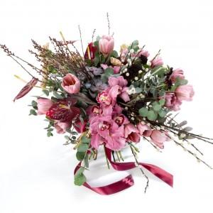 Buchet de flori cu lalele Brownies si cymbidium