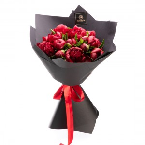 Flowers bouquet with burgundy peonies