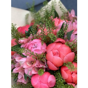 Bouquet Of Flowers With Coral Peonies