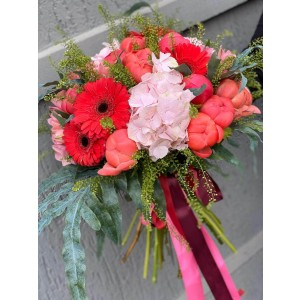 Bouquet With Hydrangeas, Peonies And Germs