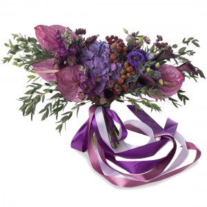 Matthiola and hydrangea bridal bouquet