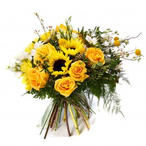 Bouquet of sunflowers and yellow roses