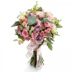 Bridal bouquet lilac roses and astrantia