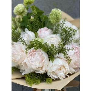 Bouquet of flowers with peonies and hydrangea