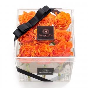 Acrylic box 9 orange roses