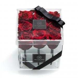 Cutie acrilica 9 trandafiri criogenati