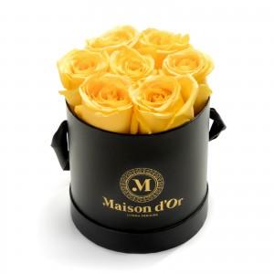 Round box 9 yellow roses