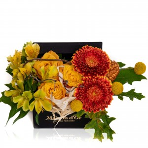 Box with germs, yellow roses and craspedia