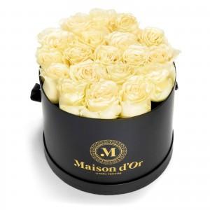 Box of 21 white roses