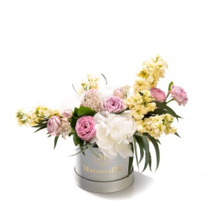 Flower box with peonies and matthiola Bella