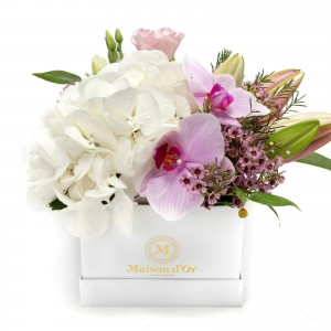 Pink Orchid Box And Pink Lisianthus