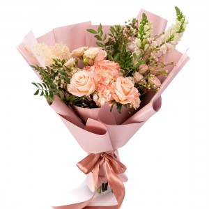 Bouquet of flowers with pink mini rose, hydrangea and roses
