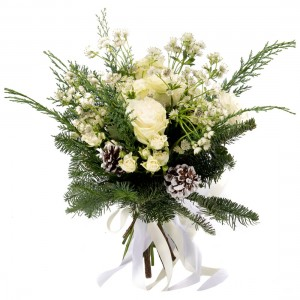 Bouquet of flowers with white roses, mini rose and astrantia