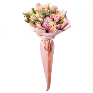 Bouquet of flowers with pink tulips and antirrhinum