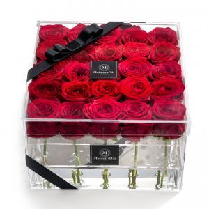 Cutie acrilica 25 trandafiri rosii